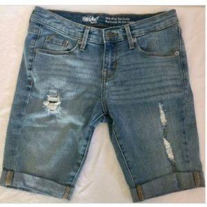 Size 00 24 Denim Cuffed Bermuda Shorts Stretch